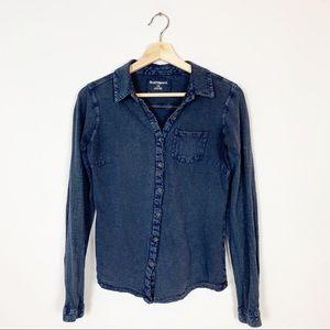 RUFF HEWN Blue Stretchy Casual Button Down Shirt S